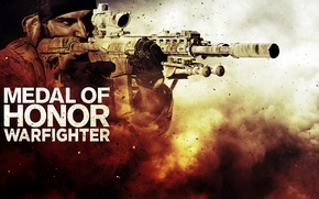 Picture weapons, dust, soldiers, machine, bandana, the vest, Medal of Honor: Warfighter