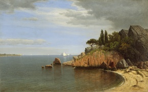 Picture sea, the sky, clouds, rocks, sailboat, picture, Bay