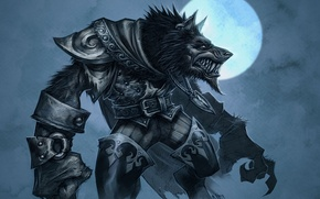 Picture the moon, wolf, armor, World of Warcraft, Cataclysm, werewolf, wow, the Worgen
