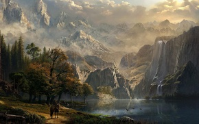 Picture mountains, river, castle, rider, waterfalls