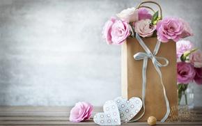 Picture heart, bag, bow, romantic, lovely, eustoma, Heart, Eustoma
