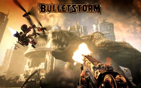 Picture weapons, the game, mutant, helicopter, Bulletstorm, monster