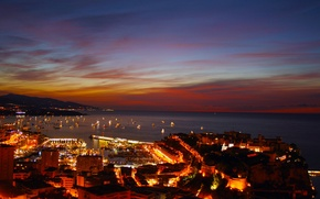 Picture landscape, night, city, the city, home, port, Monaco, Monaco, Monte Carlo, Monte Carlo, panorama., naght