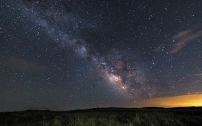 Picture field, stars, night, the milky way