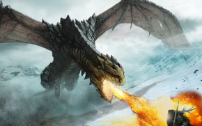 Picture snow, mountains, weapons, fire, dragon, warrior, art, rage, attack, defense, armor