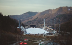 Picture mountains, rink, Almaty, Medeo