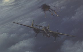 Picture the explosion, night, the moon, victory, the plane, Moonlight, dogfight, Victory