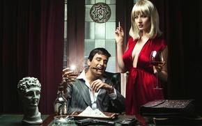 Picture cigarette, glass, guy, white powder, spirnoe, girl, cigar, dress, gun