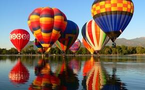 Picture the sky, trees, mountains, lake, balloon, parade, Colorado, Springs, Balloon Classic