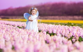 Picture flowers, nature, child, spring, nature, flowers, spring, child, little fairy, little fairy