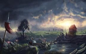 Picture birds, bridge, house, river, art, pony, painted landscape