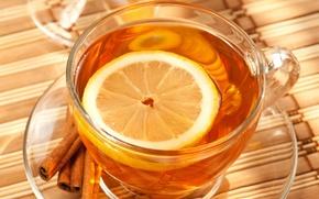 Wallpaper lemon, tea, Cup, cinnamon, saucer