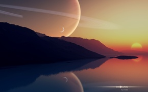 Wallpaper the sky, sunset, mountains, lake, planet, art, sky, sunset, art, planets