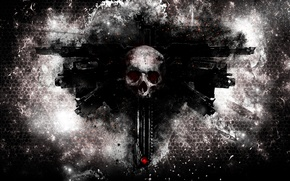 Picture skull, Warhammer 40000, weapons, bolters, Aquilla