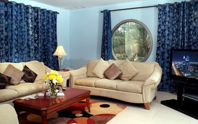 Picture flower, flowers, design, style, table, sofa, lamp, interior, bouquet, pillow, TV, window, hall, curtains, living …