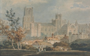 Picture landscape, picture, watercolor, William Turner, View of Ely Cathedral