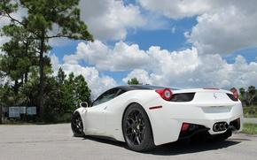 Picture white, the sky, clouds, trees, black, the fence, white, wheels, ferrari, Ferrari, drives, black, rear ...