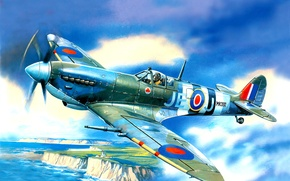 Picture sea, the sky, shore, lighthouse, fighter, art, British, single-engine, WW2, Spitfire Mk.9