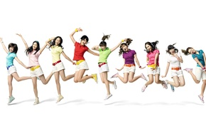 Picture girls, mood, white background, bright, Girls Generation SNSD