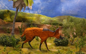 Picture paper, background, origami, Maned wolf, The maned wolf