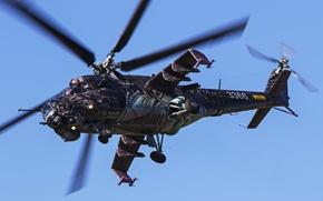 Wallpaper flight, helicopter, Mi-35, shock