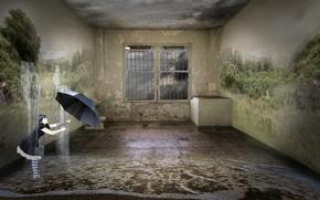 Picture girl, fantasy, room, umbrella