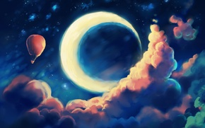 Picture the sky, clouds, night, balloon, fantasy, a month, art