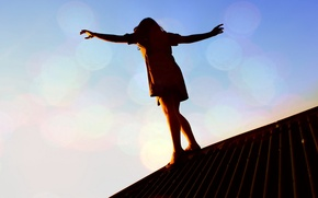 Picture roof, girl, sunset, danger, balance