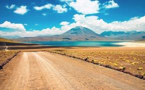 Picture road, desert, cloud, mountain, lake, chile, atacama