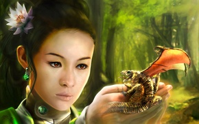 Picture dragon, Asian, Christian Suhr, her hands