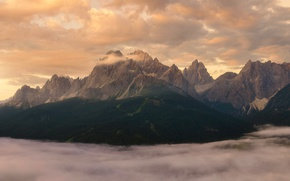 Picture clouds, mountains, fog, Alps
