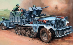 Picture art, the battle, German, WW2, tractor, database, Dema, half-track, with FlaK30, FlaK30, Sd.Car.10-4