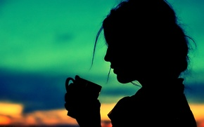 Wallpaper the sky, girl, hair, hand, silhouette, handle, Cup, profile, collected