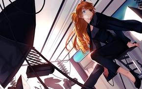 Picture girl, light, umbrella, anime, art, headband, neon genesis evangelion, soryu asuka langley, Studio, joseph lee