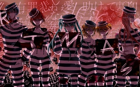 Picture letters, girls, art, signs, form, guys, chain, vocaloid, Hatsune Miku, Kagamine Rin, Meiko, Vocaloid, Kaito, …