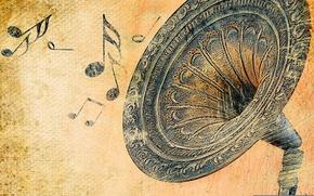 Picture retro, notes, sound, gramophone