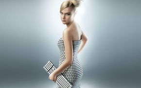 Picture girl, dress, blonde, keyboard, Claudia