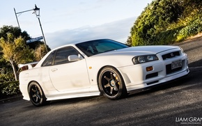 Picture car, machine, sunset, Nissan, yellow, Nissan, gt-r, yellow, gtr, Skyline, r34, rasvet, skyline, JDM, Wheels, …