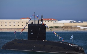 """Picture holiday, boat, flags, underwater, diesel, The Black Sea Fleet, SSK, the project 636.3, """"Rostov on …"""