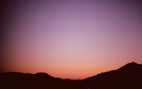 Picture twilight, road, sunset, hills, dusk, silhouettes
