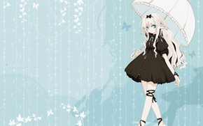 Picture girl, butterfly, umbrella