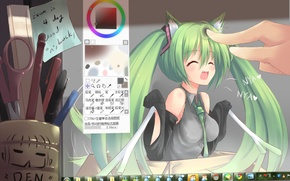 Wallpaper handle, pencil, monitor, vocaloid, hatsune miku, Vocaloid, scissors, windows seven