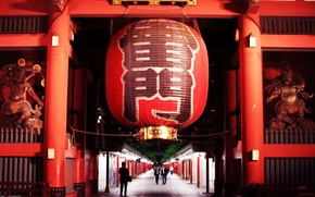 Picture red, Japan, lantern, Tokyo, Japan, statues, Gate Of Thunder, the Senso-JI temple, Senso-ji supplied with