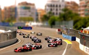 Wallpaper formula 1, tilt shift, cars, race, machine, formula1