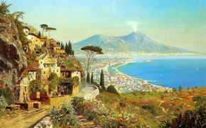 Picture sea, landscape, mountains, the volcano, Italy, Bay, painting, Naples, Alois Arnegger, Vesuvius, The Tyrrhenian sea, …