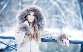 Wallpaper winter, look, girl, jacket, fur