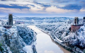 Picture winter, snow, river, rocks, England, Bristol, Somerset, Clifton suspension bridge