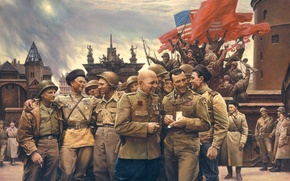 Wallpaper war, victory, USSR, soldiers, flags, USA