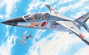 Picture war, art, painting, Mitsubishi T-2, japanese jet