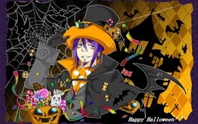 Picture web, hat, sweets, pumpkin, Halloween, Anime, bats, anime, Ao no Exorcist, blue exorcist, Mephisto, Mephisto